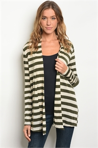 C67-A-2-C560021 CREAM OLIVE STRIPES CARDIGAN 2-2-2