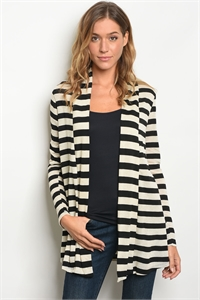 C90-A-1-C560021 CREAM BLACK STRIPES STRIPES CARDIGAN 2-3-3