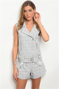 S10-13-2-SET3040 BLUE CHECKED VEST & SHORT SET 3-2-1