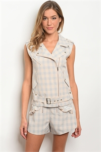S25-7-4-SET3040 TAUPE CHECKERED VEST & SHORT SET 4-2-1