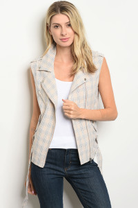 S19-8-3-T3040 TAUPE CHECKERED VEST 3-2-1  ***SHORT NOT INCLUDED***