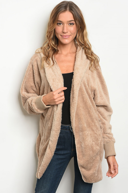114-WALL-S0530 TAUPE SHERPA JACKET / 6PCS