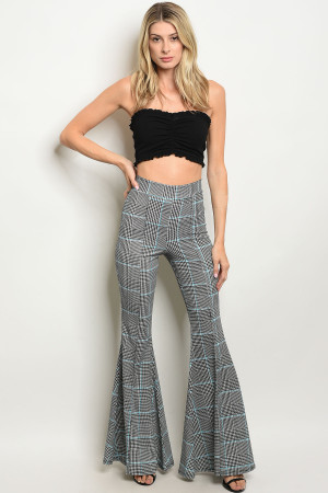 S17-3-2-P4373 BLACK BLUE CHECKERED PANTS 1-1-1