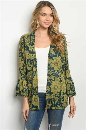 C5-A-2-CT2031 GREEN TEAL CARDIGAN 2-2-2