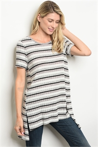 C98-A-5-T64965 IVORY BLACK STRIPES TOP 2-2-2