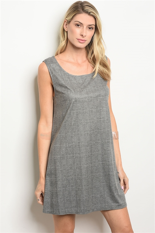 C102-A-6-D64413 GRAY CHECKED DRESS 2-2-2