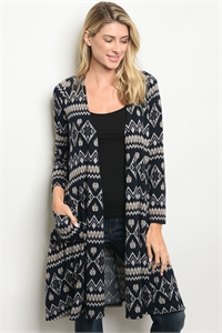 S18-2-3-C64124 NAVY TAUPE CARDIGAN 2-2-2