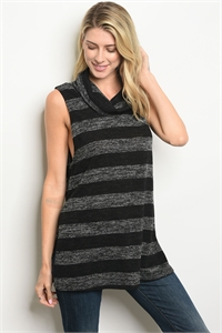 S19-10-3-T64279 BLACK GRAY STRIPES TOP 2-2-2
