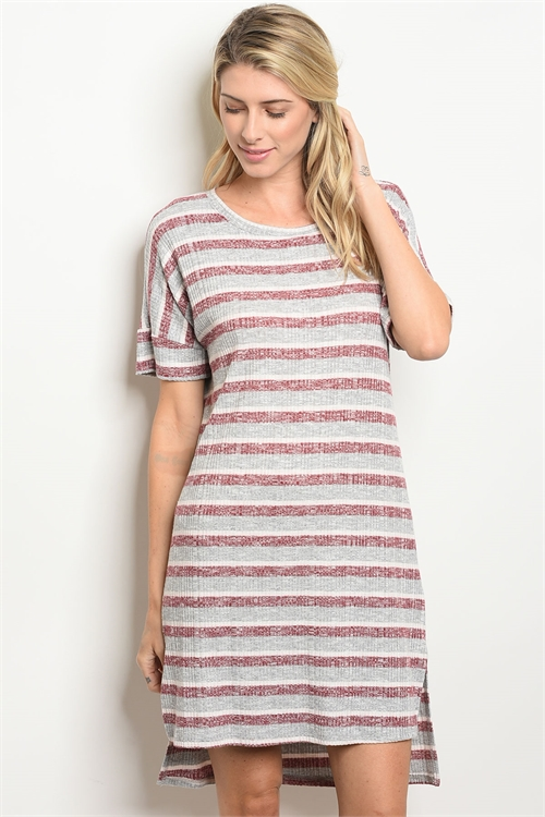 113-3-1-D66030 GRAY WINE STRIPES DRESS 2-2-2