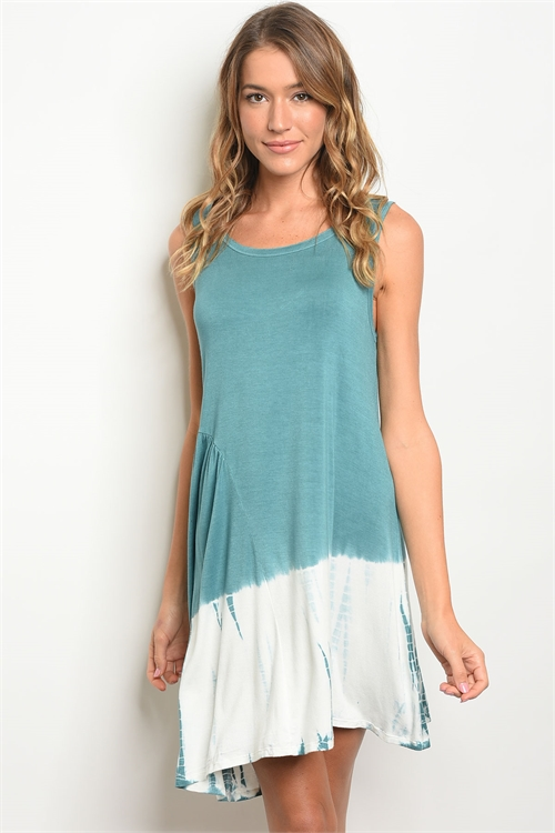 113-4-1 D41061 TEAL IVORY TIE DYE DRESS 2-2-2