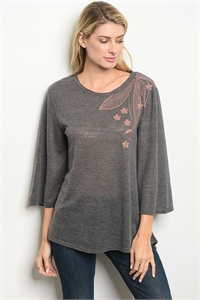 135-1-3 T11443 CHARCOAL BLUSH TOP 2-2-2