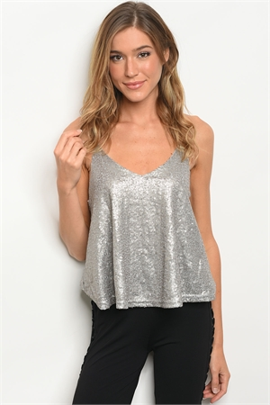 S19-6-5-T17665 GRAY WITH SEQUINS TOP 2-2-2