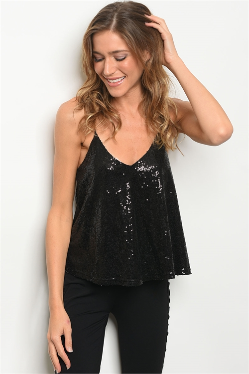 110-3-1-T17665 BLACK WITH SEQUINS TOP 2-2-2