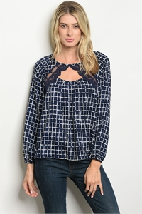 S20-4-3-T25562 NAVY CHECKERS TOP 2-2-2