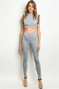 C45-A-1-SET30473 GREY CROP TOP & PANTS SET 2-1-1
