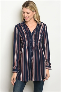 S4-7-4-D59343 NAVY RED STRIPES DRESS 2-2-2