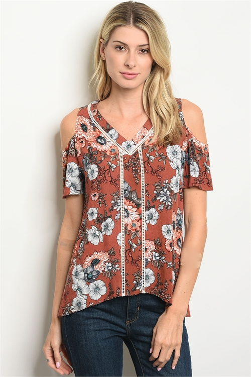 124-3-1-T25557 EARTH FLORAL TOP 2-2-2