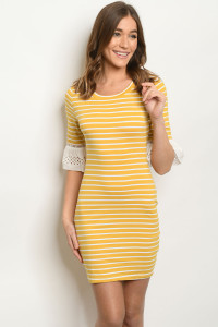 SA3-6-3-D51523 MUSTARD STRIPES DRESS 2-2-2
