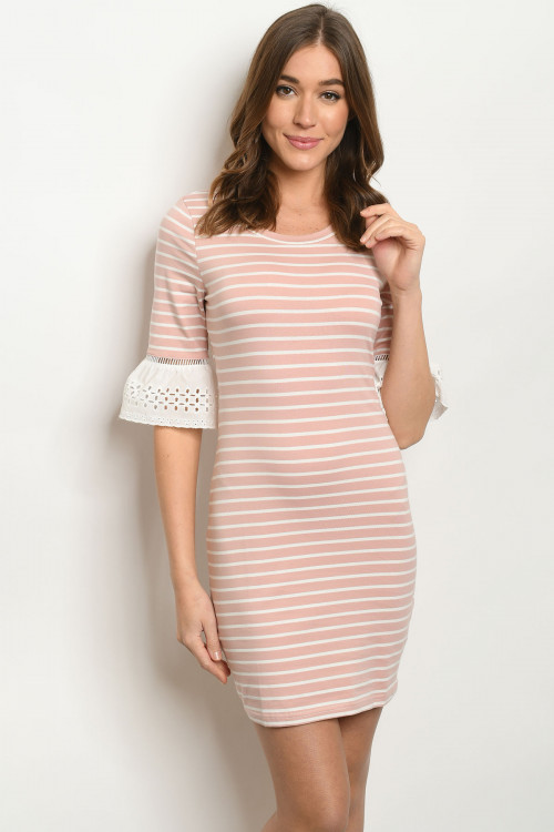 SA3-6-3-D51523 BLUSH STRIPES DRESS 2-2-2