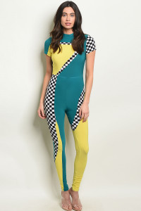 C97-A-5-J10254 TEAL YELLOW JUMPSUIT 2-2-2