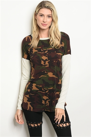 C56-B-3-T4474 OATMEAL CAMOUFLAGE TOP 2-2-2-1