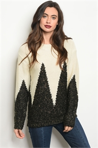 S6-2-4-S6239 CREAM BLACK SWEATER 2-2-2