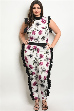 C68-A-1-J10247-1X WHITE PURPLE FLORAL PLUS SIZE JUMPSUIT 1-4-3