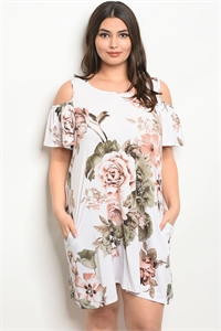 C92-A-2-D50559X WHITE FLORAL PLUS SIZE DRESS 2-2-2
