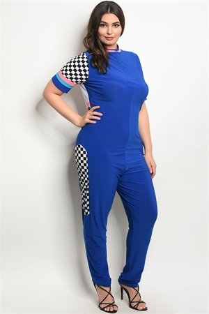 C85-A-5-J10235-1X ROYAL NEON PINK PLUS SIZE JUMPSUIT 2-2-2