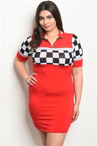 C88-A-6-D50623X RED PLUS SIZE DRESS 2-2-2