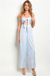 S4-9-3-NA-SET4907 BLUE WHITE STRIPES TOP & PANTS SET 3-2-1