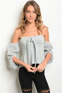 S13-8-1-NA-T4437 GRAY OFF SHOULDER TOP 3-2-1