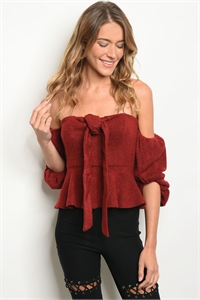 S15-2-2-NA-T4437 WINE OFF SHOULDER TOP 3-2-1