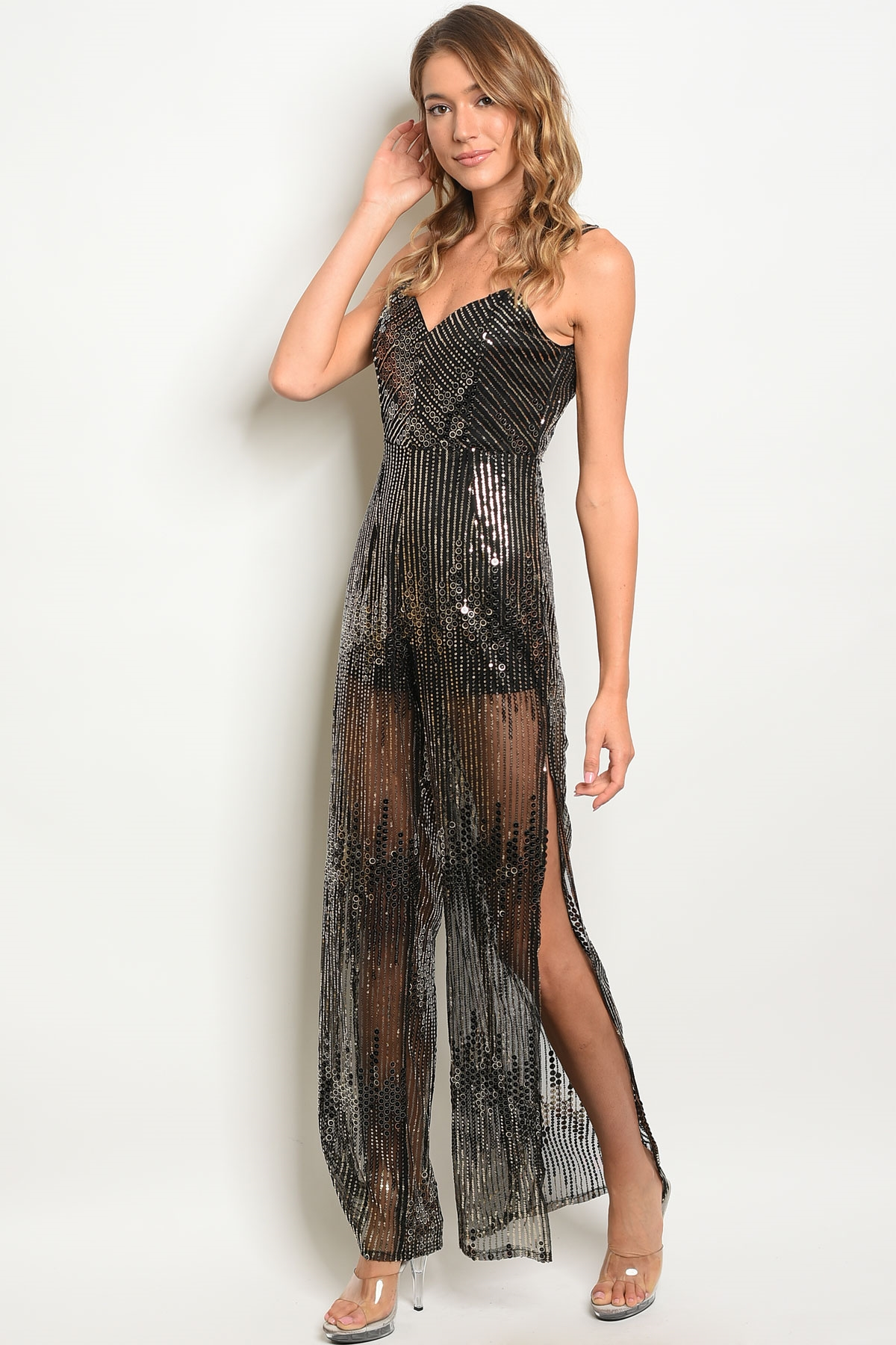 S22 5 4 Na J4239 Black Gold With Sequins Jumpsuit 3 2 1