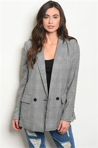 S19-12-2-J00143 BLACK WHITE CHECKED BLAZER 3-1