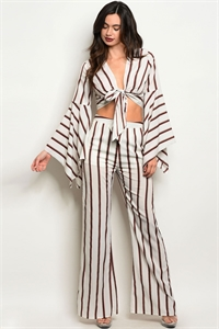 122-2-2-SET59040 OFF WHITE WINE STRIPES TOP & PANTS SET 2-2-2