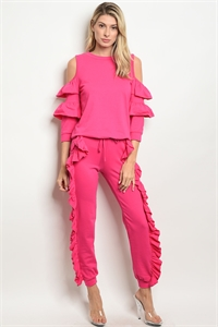 C84-A-2-SET30536 HOT PINK TOP & PANTS SET 2-2-2