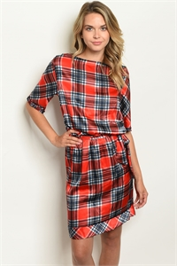 C21-A-6-D80750 RED CHECKERED DRESS 2-2-2