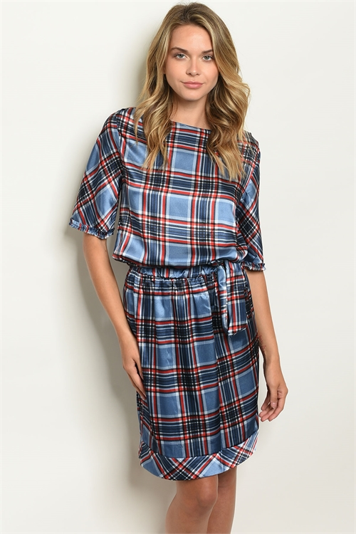 C16-A-2-D80750 BLUE CHECKERED DRESS 2-2-2