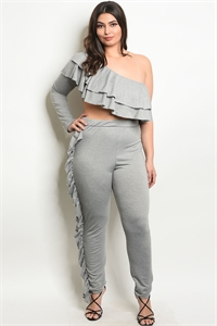 C35-A-1-SET30468X GRAY PLUS SIZE TOP & PANTS SET 2-2-2