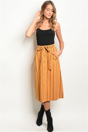 S19-12-1-S1042 MUSTARD BLACK STRIPES SKIRT 3-2-2