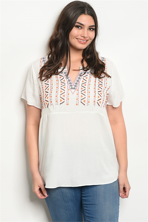 114-1-3-T10127X IVORY EARTH PLUS SIZE TOP 2-2-2