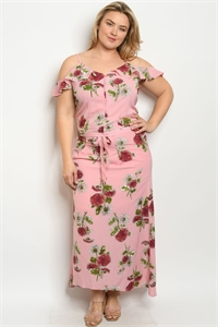 114-3-3-SET10084X PINK FLORAL PLUS SIZE TOP & SKIRT SET 2-2-2