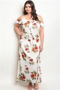 126-2-2-SET10084X IVORY FLORAL PLUS SIZE TOP & SKIRT SET 2-1