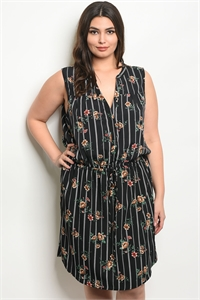 S16-4-3-D59272X BLACK STRIPES FLORAL PLUS SIZE DRESS 2-2-2