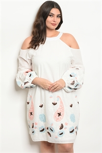 114-4-2-D16771X OFF WHITE WITH FLOWERS EMBROIDERY PLUS SIZE DRESS 2-2-2