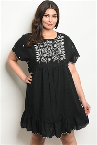 114-3-2-D81050X BLACK WHITE PLUS SIZE DRESS 2-2-2