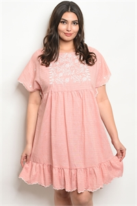 112-3-3-D81050X BLUSH WHITE PLUS SIZE DRESS 2-2-2