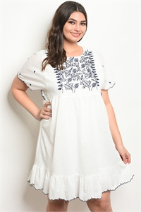 114-3-2-D81050X WHITE NAVY PLUS SIZE DRESS 2-2-2