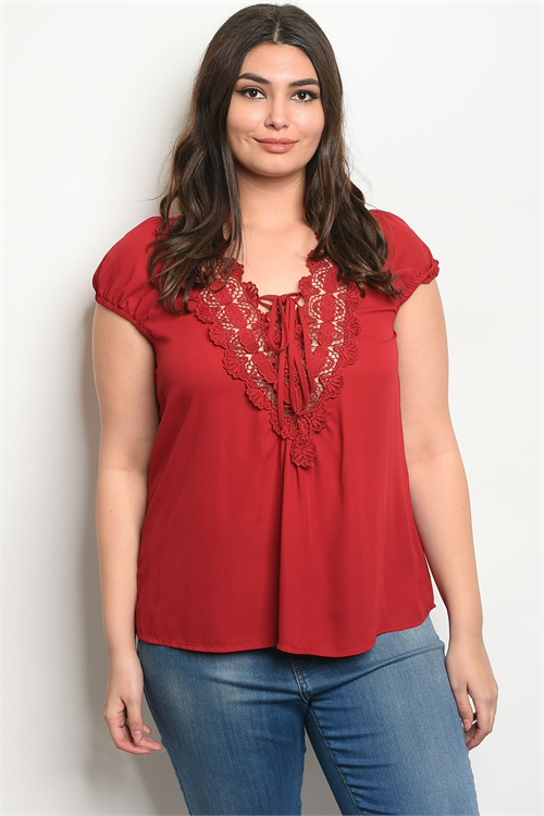 112-3-2-T58492X BURGUNDY PLUS SIZE TOP 2-2-2